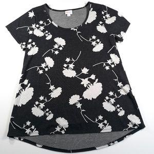 LuLaRoe M Black White Floral Irma Top